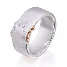 Sterling Silver with 6 Diamonds & 9ct Rose Gold Wave Ring – Charlotte Cornelius