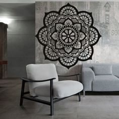Stencil, Accent Chairs, Mandala, Furniture, Vintage, Home Decor, Upholstered Chairs, Decoration Home, Room Decor