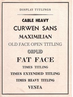 Curwen Press typefaces, display titlings - 1938
