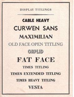 Curwen Press typefaces, display titlings - 1938