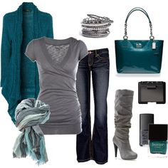 Grey  Teal- I like the shirt, sweater, scarf and boots!