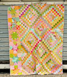 Love the row of stars she added down the side...Blue Elephant Stitches: Scrappy Trip Around the World