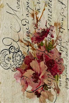 Lovely flower on calligraphy background.