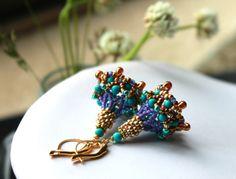 Handmade blue purple and turquoise beaded gold by Peelirohini