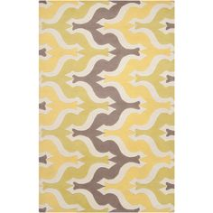 """Aimee Wilder Collection rug from Surya. She calls this pattern """"Birds"""". With a hand tufted pattern that has carved accents, it is bright and beautiful in lemon, lime and gray.  (AIW-4007)"""
