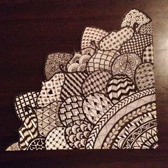 1/4 Zentangle flower created by Meredith Terry