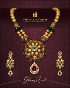 Adorn Yourself with Glittering Secret of This Beautiful Gold Set!!  Buy it at Nikkamal Jewellers, Ludhiana & Jalandhar Showrooms