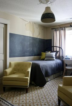 Love the chalkboard wall for the kids room.