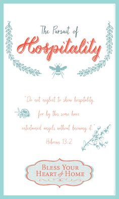 There is no Biblical mandate that offering hospitality is to be done weekly, monthly, or every holiday — rather, we are to be actively PURSUING it. We are to be like Abraham and Lot, chasing down opportunities to open our hearts and homes to others.