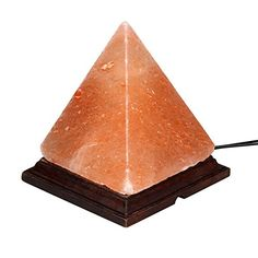"7"" Himalayan Salt Lamp Pyramid Hand Carved from Crystal Rock Salt Natural Ionic Air Purifier on Wood Base with Dimmer Switch Cord, Light Bulb by Oumai"