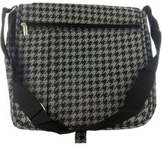 Marc Gold Black & Silver Houndstooth Messenger Bag-Made of stylish yet durable vinyl