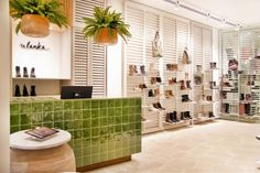 Ulanka Shoe Store by CuldeSac, Valencia Spain store design Commercial Interior Design, Shop Interior Design, Commercial Interiors, Retail Design, Pull And Bear Tienda, Visual Merchandising, Dressing Room Mirror, Retail Branding, Shoe Wall