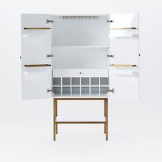 Downing Bar Cabinet   White/Antique Brass