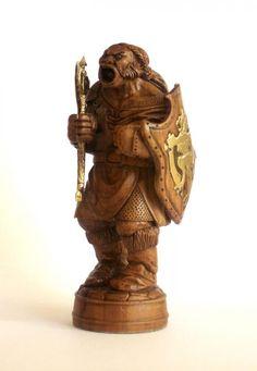 Воин-орк (концептуальная шахматная фигура)   Резьба по дереву, кости и камню