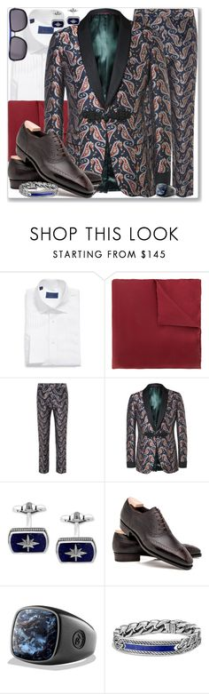"""Men # 11.1"" by rosalol ❤ liked on Polyvore featuring DAVID DONAHUE, Lanvin, Gucci, Effy Jewelry, David Yurman, Christian Dior, men's fashion and menswear"