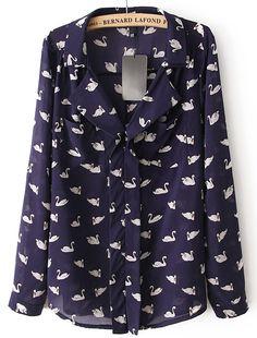 Blue Lapel Long Sleeve Swan Print Pockets Blouse - Sheinside.com