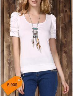 Stylish U Neck Short Sleeve Pure Color T-Shirt For Women