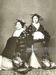 花魁 Oiran 'Daimio's women'. Feudal princesses in their splendid robes. 1869/70. Photograph by Wilhelm Burger (No. 600). (Photo by Imagno/Getty Images)