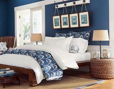 Pottery Barn Blue Master Bedroom, Beach Condo, Coastal Living, Accent Decor, Bedroom Decor, Bedroom Ideas, Sweet Home, Living Room, Interior Design