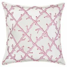 "Bring a touch of coastal charm to your sofa, loveseat, or bed with this plush cotton pillow, showcasing a coral reef-inspired lattice motif in pink.   Product: PillowConstruction Material: Cotton coverColor: PinkFeatures:  Zippered closureInsert included    Dimensions: 20"" x 20""Cleaning and Care: Wash in cold water and line dry"