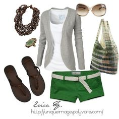 Green Casual, created by uniqueimage Short Outfits, Casual Outfits, Cute Outfits, Spring Summer Fashion, Spring Outfits, Summer 3, Cute Fashion, Fashion Outfits, Fashion Tips