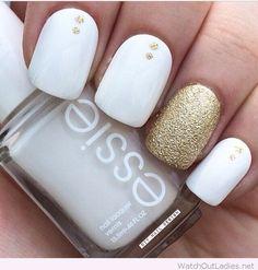 Matte white nail polish with gold glitter #white #nails #beautyinthebag