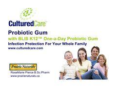 CulturedCare Probiotic Gum w/ BLIS K12  by CulturedCare Probiotics via slideshare
