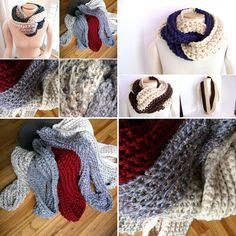 ❄️ A plethora of crocheted Chunky Twist Scarves! •pattern links in my profile•. Perfect for the beginner.  Make one in an hour