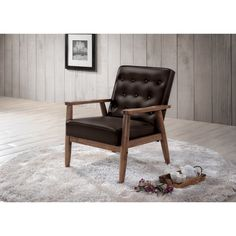 Baxton Studio Sorrento Mid-century Retro Modern Brown Faux Leather Upholstered Wooden Lounge Chair