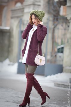 street style outfit for winter with over the knee boots by Stuart Weitzman