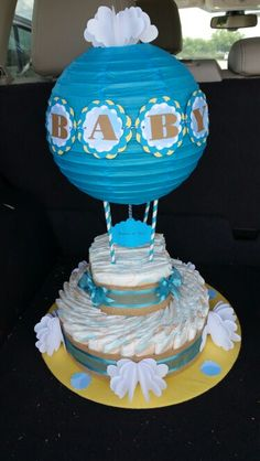 My first hot air balloon diaper cake