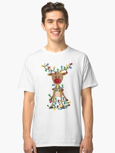 An adorable reindeer all tangled up in Christmas lights Tshirt Colors, Wardrobe Staples, Female Models, Christmas Lights, Christmas Decor, Reindeer, Classic T Shirts, Tangled, Tees