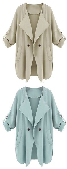 Trench coat for spring ! Casual work outfit for women .Pocket apricot coat at Romwe .Also light blue color for you to choose. Look Fashion, Fashion Outfits, Womens Fashion, Fashion Trends, Mode Style, Style Me, Work Casual, Mantel, Passion For Fashion