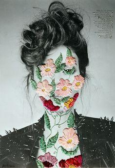Fotografie met borduurwerk door kunstenaar Jose Romussi. Zowel in kunst, mode als interieur zien we veel borduurwerk!