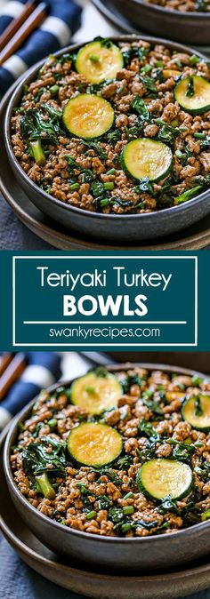 Teriyaki Turkey Bowls - An easy 15 minute ground turkey or chicken recipe tossed in Asian teriyaki sauce, spinach, and zucchini. A quick and delicious Chinese dinner recipe. Turkey Recipes, Veggie Recipes, Lunch Recipes, Sweets Recipes, Dinner Dishes, Food Dishes, Main Dishes, Wrap Recipes, Easy Recipes
