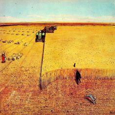 A Prairie Boy's Summer Canadian Painters, Canadian Artists, Landscape Art, Landscape Paintings, Landscapes, William Kurelek, Champs, Canadian Prairies, Ukrainian Art