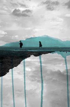 Deux Landscape Photography Silhouette Children Cyan