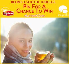 """Refresh, Soothe, and Indulge with #LiptonKCups! Click through to enter to win one of five Lipton K-Cup """"Fresh Spin"""" Prize Packs, including a Keurig brewing machine and new Lipton K-Cups!"""