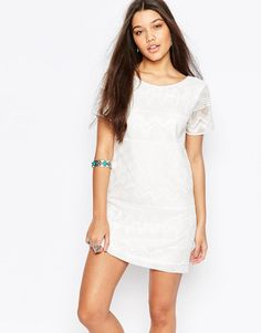 Abercrombie & Fitch | Abercrombie & Fitch Embroidered Shift Dress With Lace Detail at ASOS