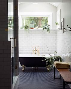 Bathroom inspiration // navy tile, black clawfoot tub and white subway tile clawfoot bathtub Laundry In Bathroom, Bathroom Renos, Bathroom Interior, Tiled Bathrooms, White Bathroom, Bathroom Goals, Bathroom Ideas, Bathroom Remodeling, Classic Bathroom