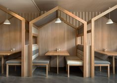 Booths with pitched roofs added to restaurant Kitty Burns More
