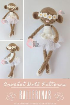 Ballerina Crochet Monkey Doll Pattern, Amigurumi Monkey Doll with Tutu and Flowers Pattern, Bailarina Mono Croche, Amigurumi Animal Pattern Melanie Monkey from the series of Ballerinas, Amigurumi Crochet Patterns. This is a DOWNLOADABLE TUTORIAL. Written in English.
