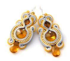 silver grey and yellow   soutache earrings  free by KimimilaArt