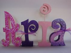 Set of 4 Custom Wood Letters Hand Painted and by thepatternbag, $48.00