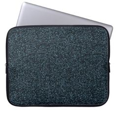 Dark teal faux glitter computer sleeve - glitter gifts personalize gift ideas unique