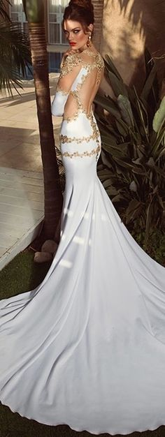 ✿ ~ All Things {WHITE} `✿⊱╮  **Gorgeous Open Back Gown / Oved Cohen's 2014 collection