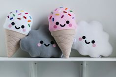 White Vanilla Ice Cream Cushion Cute Pillow от hannahdoodle