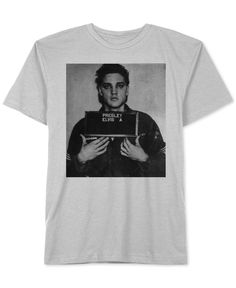 Lock down a fresh casual look with the rock & roll style of this Elvis Presley T-shirt from Jem, featuring soft heathered cotton and graphic-print mugshot from his 1956 arrest in Memphis. | Cotton | M