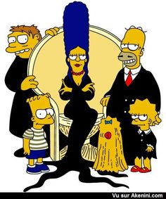 The Simpsons / Adam's Family Die Simpsons, Simpsons Cartoon, Cartoon Art, Cartoon Characters, Homer Simpson, Image Simpson, Morbider Humor, Los Simsons, Simpsons Drawings