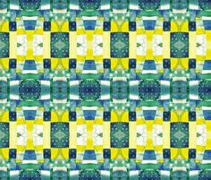 blue yellow mosaic fabric by valeriakondor on Spoonflower - custom fabric